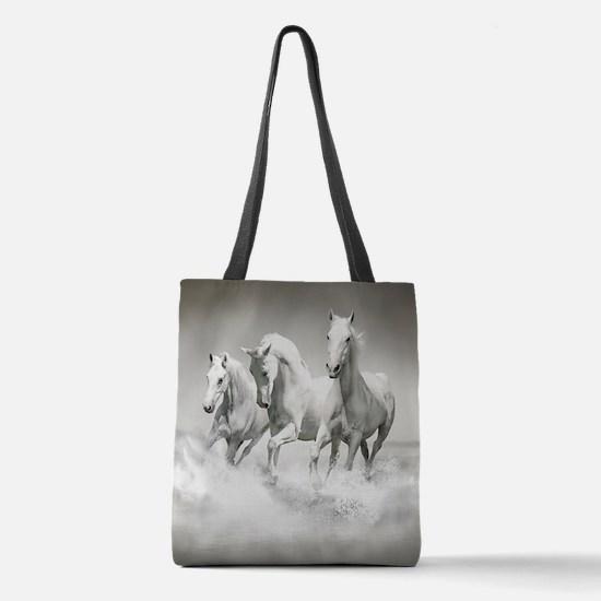 Wild White Horses Polyester Tote Bag
