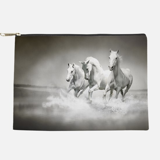 Wild White Horses Makeup Pouch