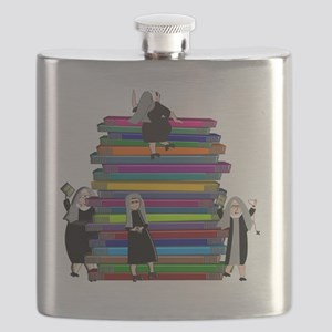 book stack nuns LARGE Flask
