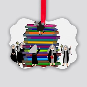 book stack nuns MULTIPLE Picture Ornament