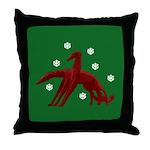 Borzoi Snowflakes Throw Pillow