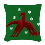 Borzoi Snowflakes Woven Throw Pillow