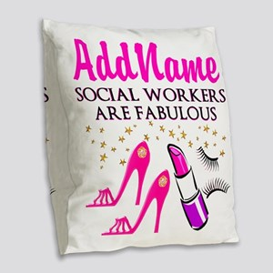#1 SOCIAL WORKER Burlap Throw Pillow