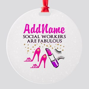 #1 SOCIAL WORKER Round Ornament