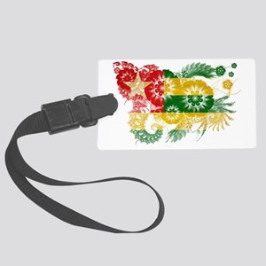 Togo textured flower Large Luggage Tag