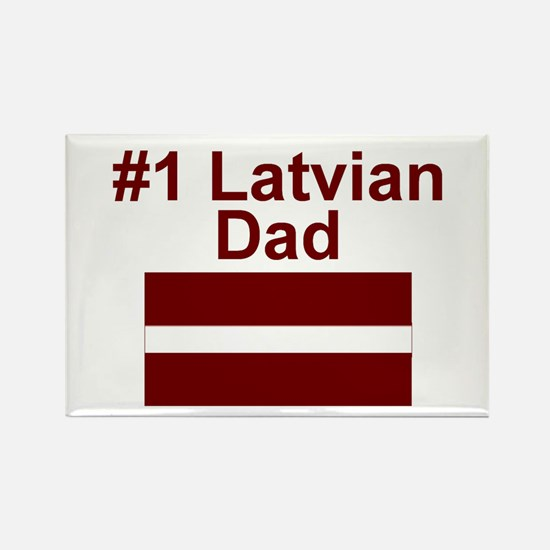 #1 Latvian Dad Rectangle Magnet