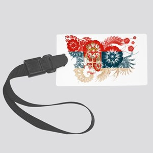 Serbia textured flower Large Luggage Tag