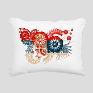 Serbia textured flower Rectangular Canvas Pillow