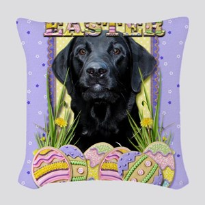 EasterEggCookiesLabradorBlkCP Woven Throw Pillow