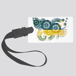 Rwanda textured flower Large Luggage Tag