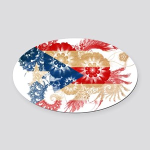 Puerto Rico textured flower Oval Car Magnet