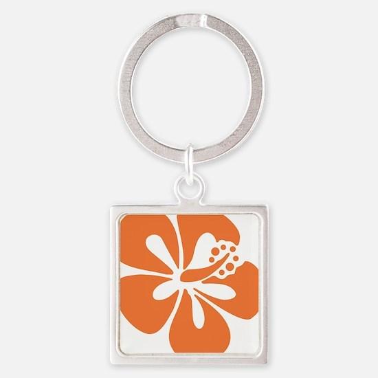 hibiscus-orange Square Keychain