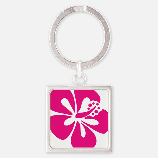 hibiscus-pink Square Keychain
