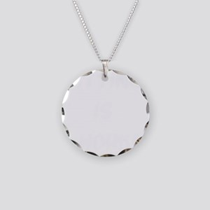 sitting is work white Necklace Circle Charm