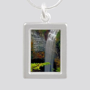 Waterfall Blessings Silver Portrait Necklace