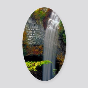 Waterfall Blessings Oval Car Magnet