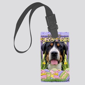 EasterEggCookiesGreaterSwissMoun Large Luggage Tag