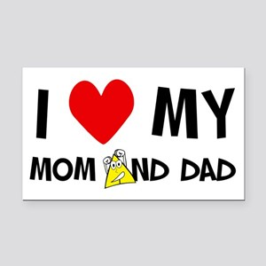 I Love Mom and dad Rectangle Car Magnet