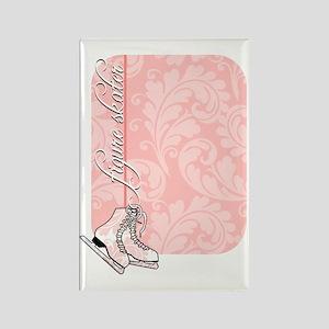 pink-damask-skates-curved Rectangle Magnet