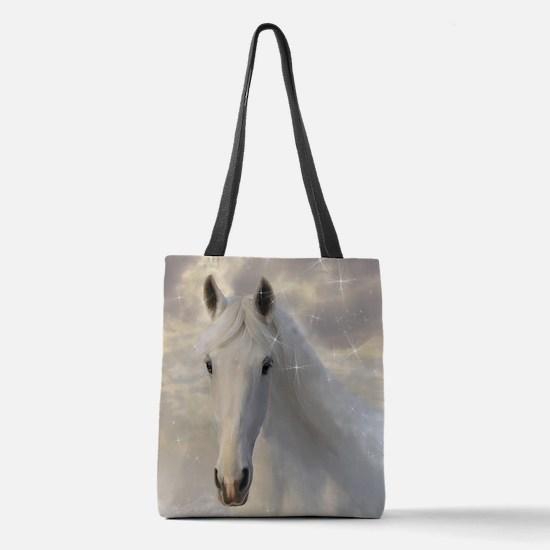 Sparkling White Horse Polyester Tote Bag