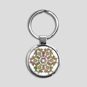 moose snowflake Round Keychain
