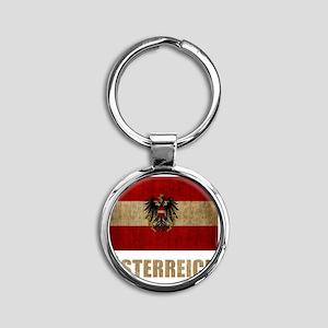 austria6Bk Round Keychain