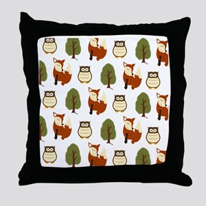 Fox and Owl Pattern Shower Curtain Throw Pillow