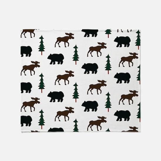 Bear and Moose Pattern Throw Blanket