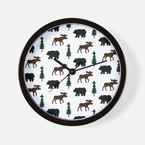 Bear and Moose Pattern Wall Clock