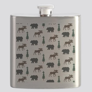 Bear and Moose Pattern Flask