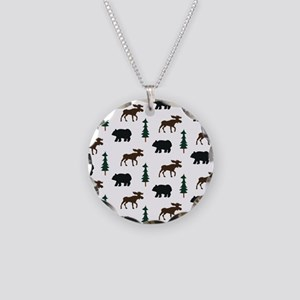 Bear and Moose Pattern Necklace Circle Charm