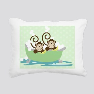 Silly monkeys in Tub Rectangular Canvas Pillow