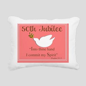 Golden Jubilee dove Psal Rectangular Canvas Pillow