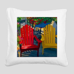 Beach Town Charm Square Canvas Pillow