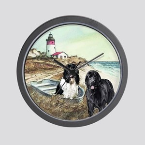 2 newfs and boat  Wall Clock