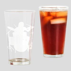Drummer 1c black Drinking Glass
