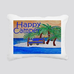 Island Palms Happy Campe Rectangular Canvas Pillow