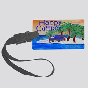 Island Palms Happy Camper Large Luggage Tag
