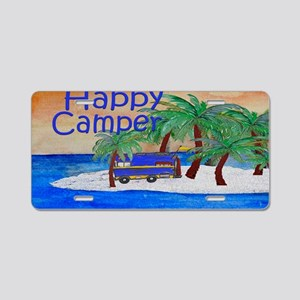 Island Palms Happy Camper Aluminum License Plate