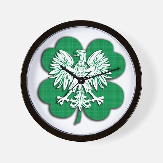 Irish Polish Shamrock Eagle Wall Clock