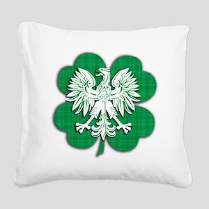 Irish Polish Shamrock Eagle Square Canvas Pillow