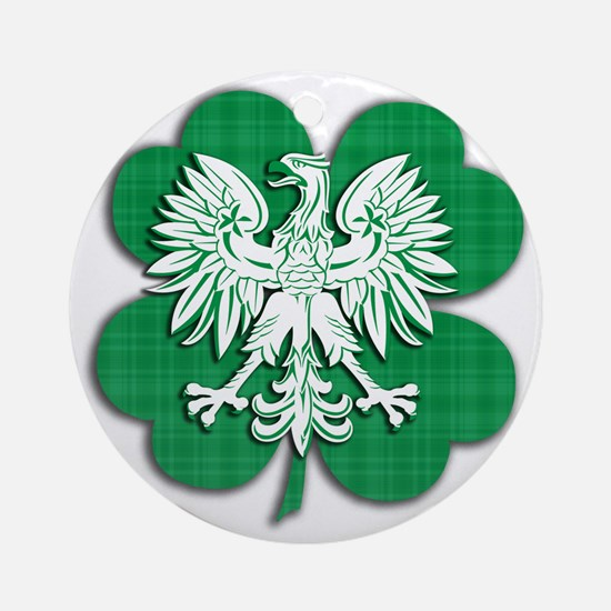 Irish Polish Shamrock Eagle Round Ornament