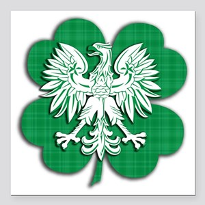"Irish Polish Shamrock Ea Square Car Magnet 3"" x 3"""