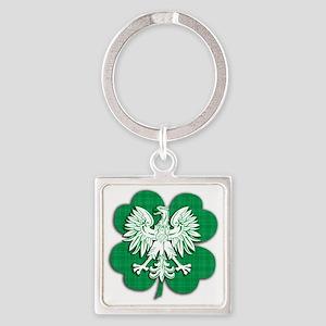Irish Polish Shamrock Eagle Square Keychain