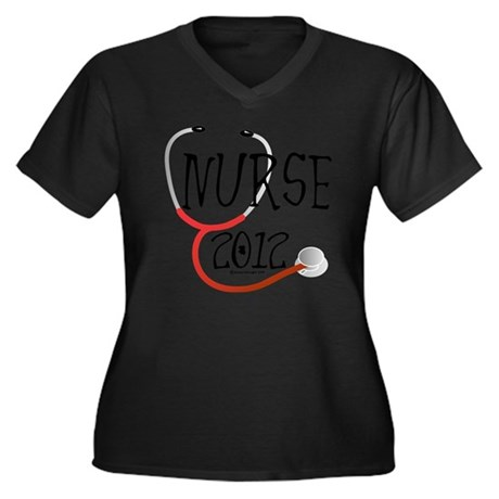 nurse - nurs Women's Plus Size Dark V-Neck T-Shirt