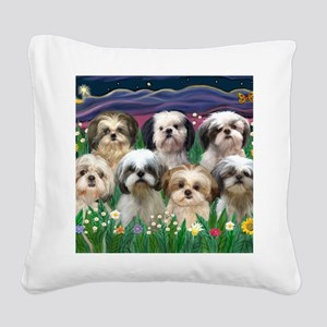 8x10-7 SHIH TZUS-Moonlight Ga Square Canvas Pillow