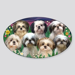8x10-7 SHIH TZUS-Moonlight Garden Sticker (Oval)