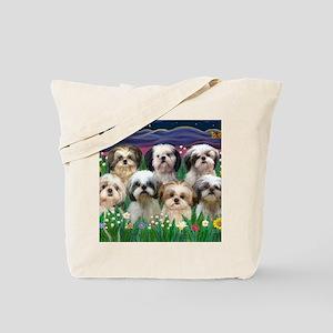 8x10-7 SHIH TZUS-Moonlight Garden Tote Bag