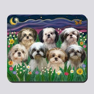 8x10-7 SHIH TZUS-Moonlight Garden Mousepad