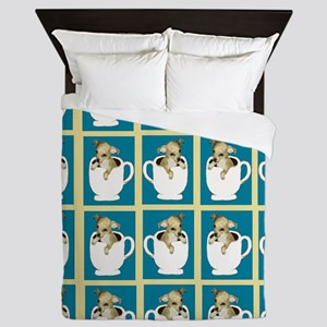 chihuahu in teacup shower curtain Queen Duvet